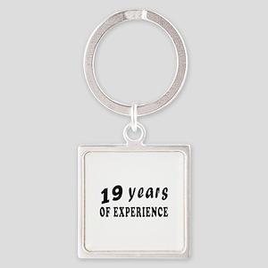19 years birthday designs Square Keychain