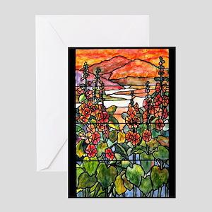 Tiffany Red Hollyhocks in Landscape Greeting Card