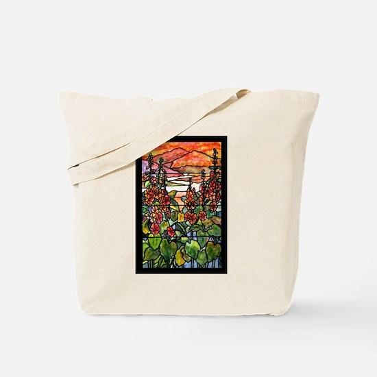 Tiffany Red Hollyhocks in Landscape Tote Bag