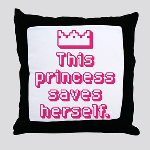 This Princess Saves Herself Throw Pillow