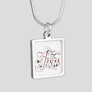 Beautiful name of Jesus Silver Square Necklace