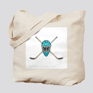 Hockey Goalie Mask and Cross Sticks Tote Bag