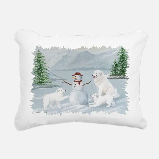 Great Pyrenees Snow Play Rectangular Canvas Pillow