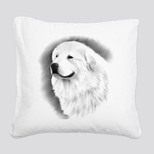 Great Pyrenees Charcoal Square Canvas Pillow