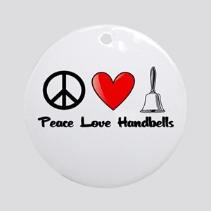 Peace, Love, Handbells Ornament (Round)