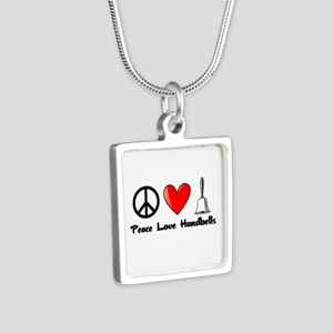 Peace, Love, Handbells Silver Square Necklace