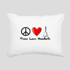 Peace, Love, Handbells Rectangular Canvas Pillow