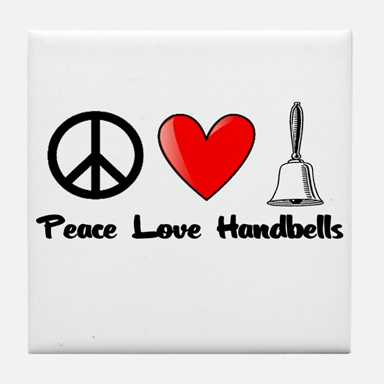Peace, Love, Handbells Tile Coaster