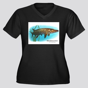 Muskellunge Women's Plus Size V-Neck Dark T-Shirt