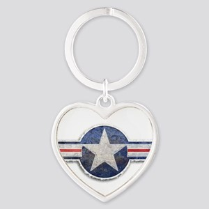 USAF US Air Force Roundel Heart Keychain