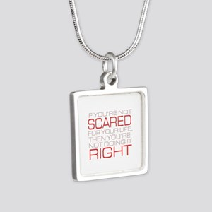 'Scared For Your Life' Silver Square Necklace