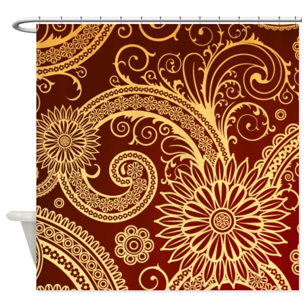 Red And Gold Floral Swirls Shower Curtain By Cheriverymery