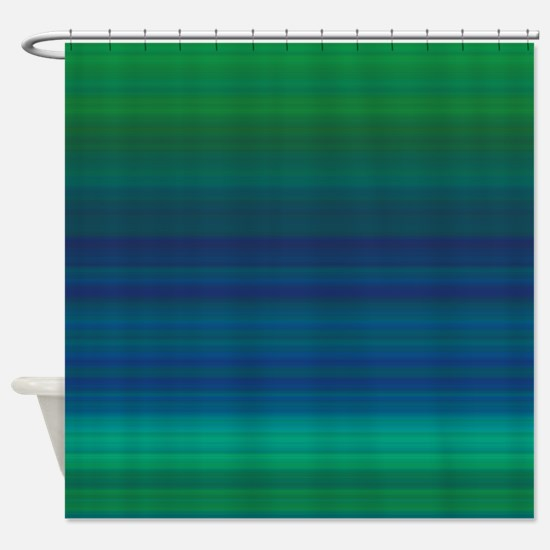 Shades of Green and Blue Shower Curtain