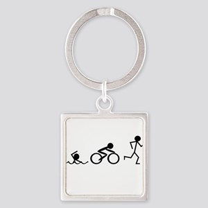 Triathlon Square Keychain