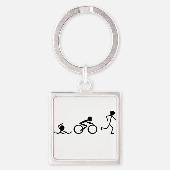 Triathlon Square Keychain