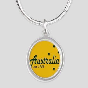 auscpresssquare Silver Oval Necklace