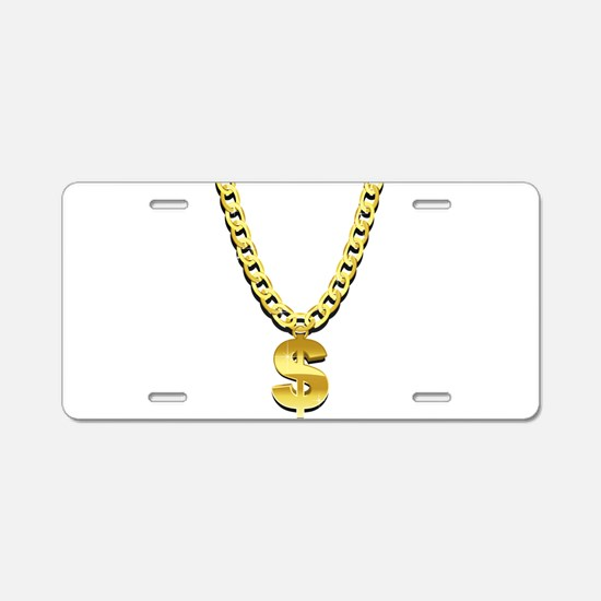 Gold Chain Aluminum License Plate
