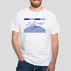 I <3 An Aneurysm Survivor (Blue) White T-Shirt