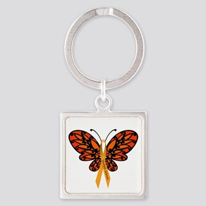 MS Awareness Butterfly Ribbon Square Keychain