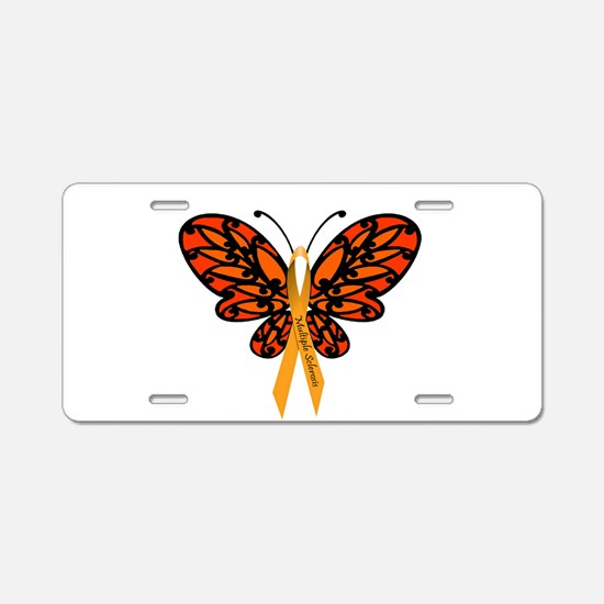 MS Awareness Butterfly Ribbon Aluminum License Pla