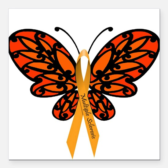"""MS Awareness Butterfly Ribbon Square Car Magnet 3"""""""