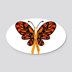 MS Awareness Butterfly Ribbon Oval Car Magnet