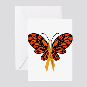 MS Awareness Butterfly Ribbon Greeting Cards (Pk o