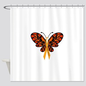 MS Awareness Butterfly Ribbon Shower Curtain