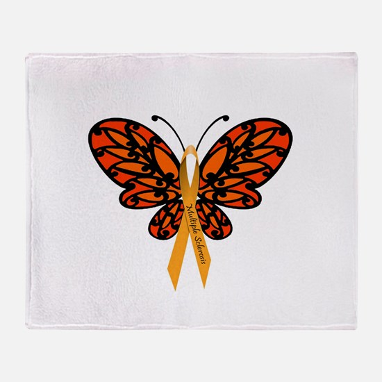 MS Awareness Butterfly Ribbon Throw Blanket