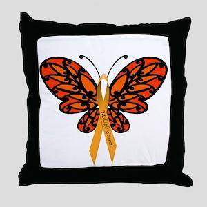 MS Awareness Butterfly Ribbon Throw Pillow