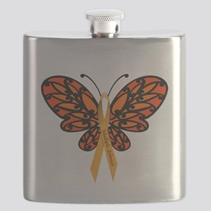 MS Awareness Butterfly Ribbon Flask