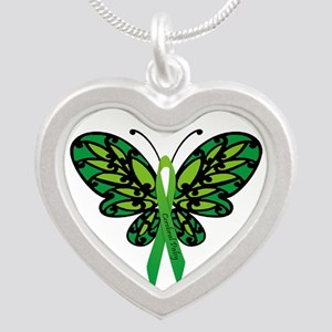 CP Awareness Ribbon Silver Heart Necklace