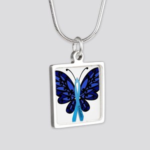 Diabetes Awareness Silver Square Necklace
