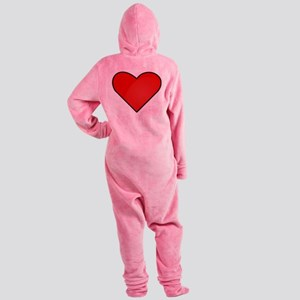 Red Heart Drawing Footed Pajamas