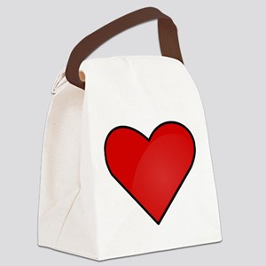 Red Heart Drawing Canvas Lunch Bag