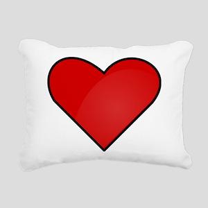 Red Heart Drawing Rectangular Canvas Pillow