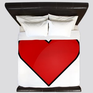 Red Heart Drawing King Duvet