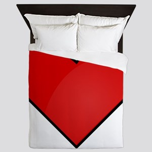 Red Heart Drawing Queen Duvet