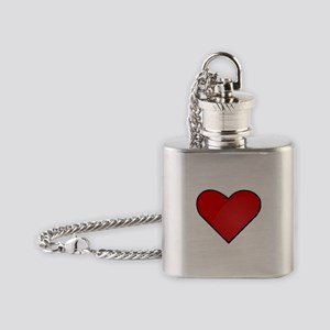 Red Heart Drawing Flask Necklace