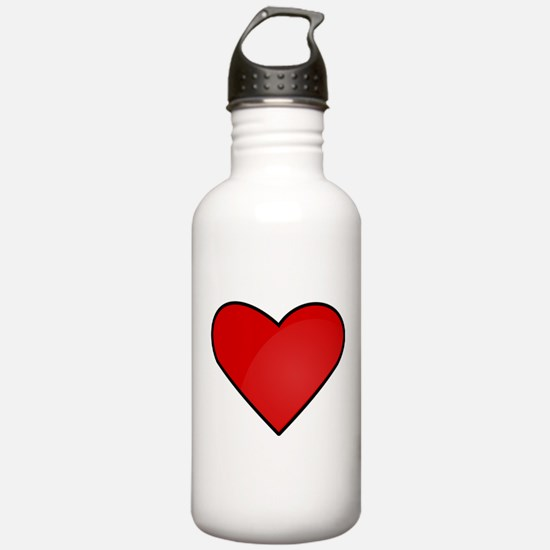 Red Heart Drawing Water Bottle