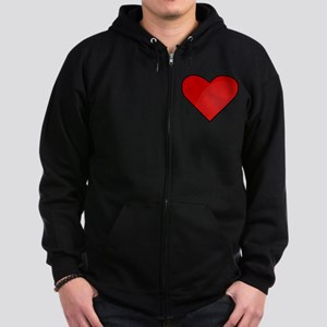 Red Heart Drawing Zip Hoodie