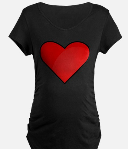 Red Heart Drawing Maternity T-Shirt