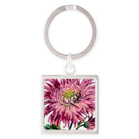 Pink Chrysanthemum Square Keychain