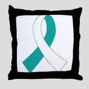 Cervical Cancer Ribbon Throw Pillow