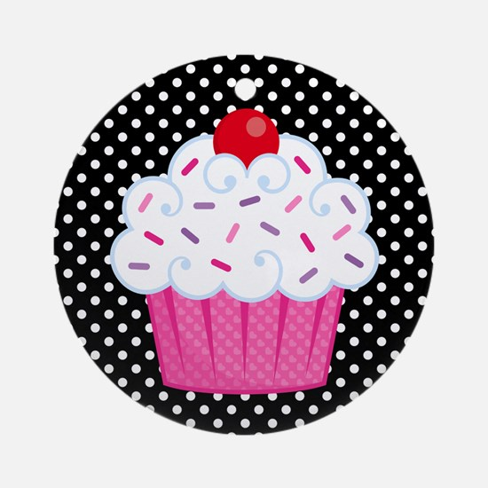 Pink Cupcake on Polka Dots Ornament (Round)