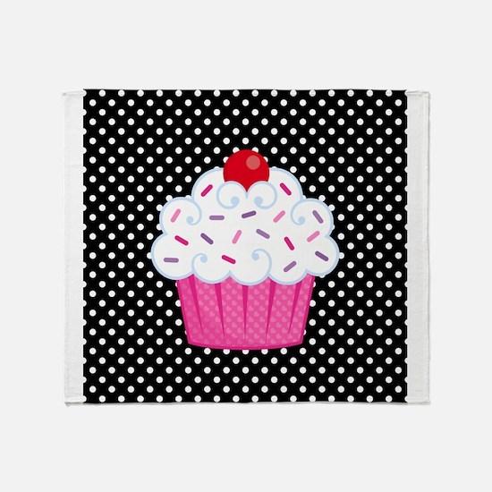 Pink Cupcake on Polka Dots Throw Blanket