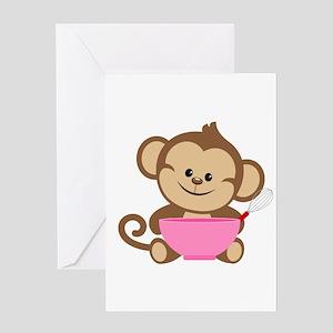 Baking Monkey Greeting Card