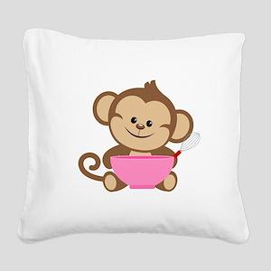 Baking Monkey Square Canvas Pillow