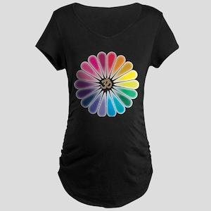 Om Rainbow Flower Maternity T-Shirt