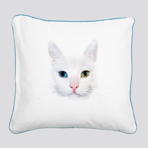 White Cat Square Canvas Pillow
